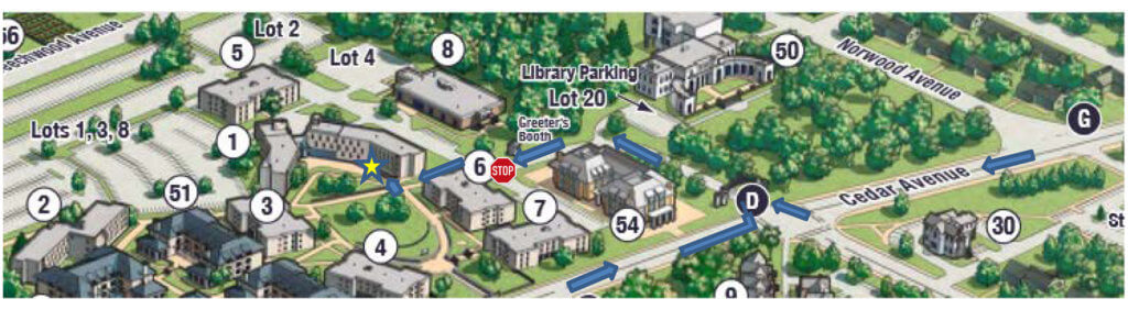 Image of map with directions for Carrier Drop Offs to Student Mailroom