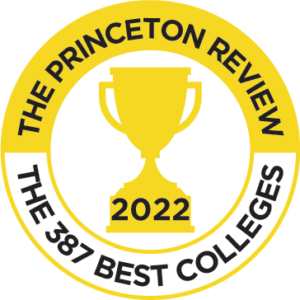A line art trophy with the words '2022, The Princeton Review, the 387 Best Colleges', around it
