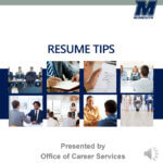 Promotional image for Resume Tips PowerPoint presentation from Monmouth University Career Services - Narration Available