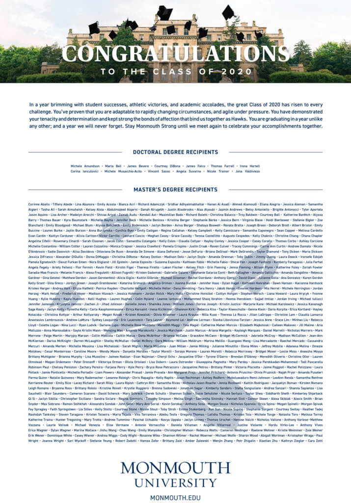 MU Printable Posters: 2020 Doctoral and Graduate Degree Recipients