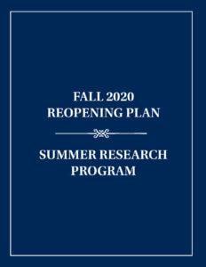 Summer Research Program Reopening Plan