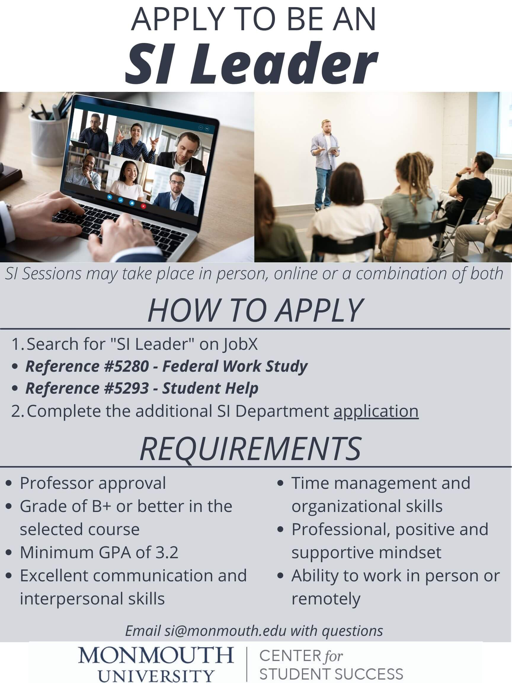 Apply to be an Supplemental Instruction (SI) Leader - click or tap image to complete online application