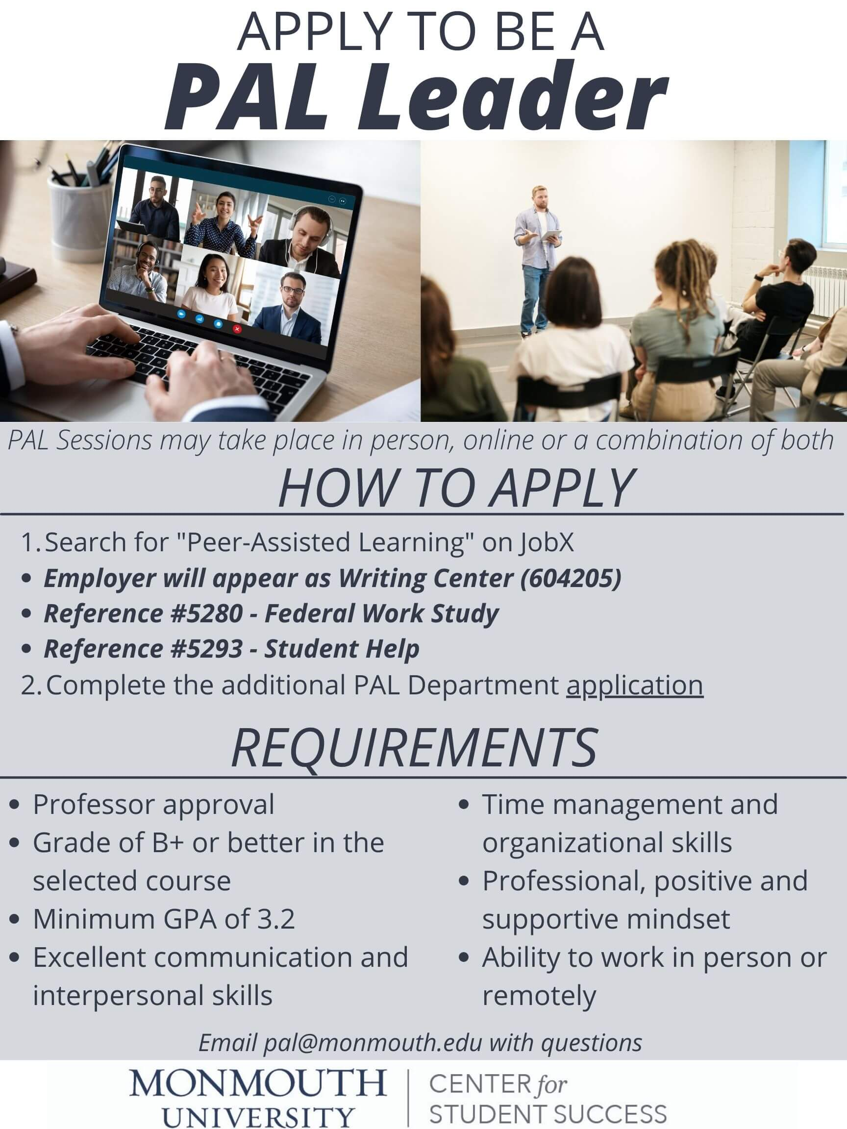 Image of flyer on How To Apply to be a PAL Leader: Click or tap to access the online application.