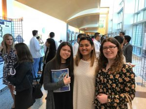 Samantha Cavalli (MA/Stat), Alexandria Halloran (MA/Stat) and Peri Trembley (HS/Stat Minor) attended the  Jersey Shore University Med Center's 2018 Research Day