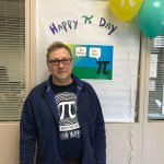 Photo shows Dr. Coyle ready for Pi Day