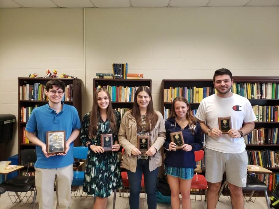 Student award winners pictured from left to right - Sabito, Pollard, Roos, Bianchi, and Vazzana