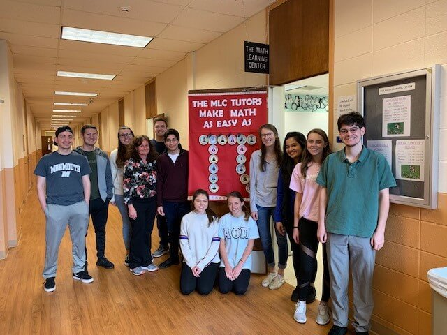 Photo shows all student workers of the Math Department as Monmouth celebrated Student Employment Week 2019