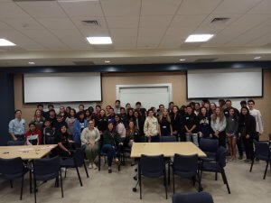 Photo shows Dr. Pang and all the Math Day participants