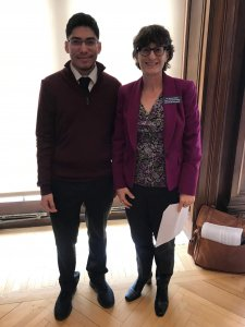 Photo shows student Rodriguez and Honors School Dean Nancy Mezey