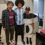 Photo of Dr. Palsu-Andriescu and student dressed as Rook Coffee for Halloween