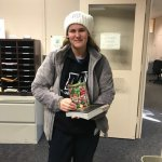 "Photo of student who won the ""Guess How Many"" candy jar contest"