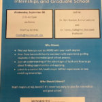 Image shows event flyer for Plan Your Future Now: Internships and Graduate School