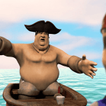 Photo shows project titled Oh Captain My Captain for course: 3D Group Animation created by students: Michael-Scott Cugno, Jason Frank, David Golub, Ryan Russo