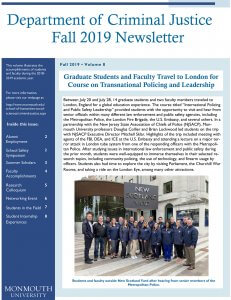 Images shows cover of Fall 2019 of Department of Criminal Justice Newsletter - Click image to download and read PDF of issue