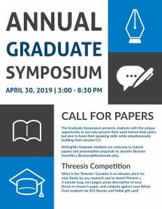 Click image to view Call for Papers and Thesis Competition information for the Annual Graduate Symposium on April 30, 2019