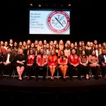 Photo shows English Student Awards Recipients and Fall 2018/Spring 2019 Inductees gathered on stage