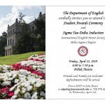 Photo of flyer for Sigma Tau Delta honor society Induction Ceremony, April 12
