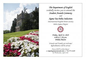 Click image to view details of English Department Awards Reception and Sigma Tau Delta Induction ceremony on Friday, April 12, at 6 p.m., in Pollak Theatre on the Monmouth University campus.