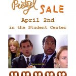 Photo shows poster for Sigma Tau Delta Pretzel Sale, April 2019
