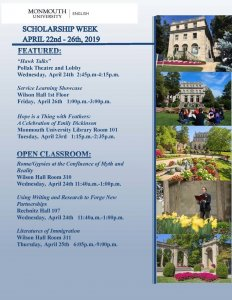 Click image to view event schedule for Scholarship Week at Monmouth University, April 22-28, 2019