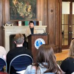 "Photo shows Jane Lai, presenting during event titled ""Hope is a Thing with Feathers: A Celebration of Emily Dickinson"""