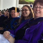 Photo shows Drs. Susan Goulding, Courtney Wright-Werner and Beth Gilmartin-Keating at Undergraduate Commencement.
