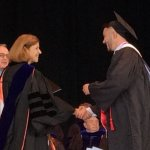Photo of Mike Padovani receiving his degree