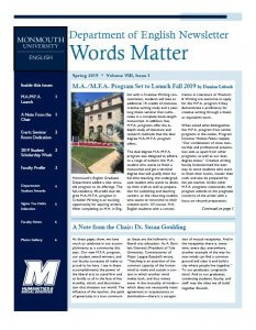 Photo image of cover of Words Matter spring 2019 issue