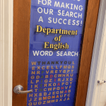 "Photo shows department office door with message: We ""Decked the Door"" to show our appreciation for our student workers, Faith, Diana and Mona."