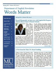 Photo image of cover of Words Matter newsletter spring 2014 issue
