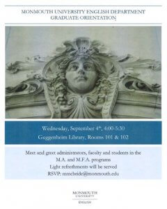 Image of Flyer Cover Announcing Orientation for Students in the MA and MFA Graduate Programs. Click for larger display.