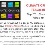 Photo image of flyer for Drs. Heide Estes, Patrick Love and Courtney Wright-Werner presenting and participating in panel discussion at the Climate Crisis Teach-In
