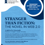 "Photo image of flyer for Ink & Electricity Lecture Series: """"Stranger Than Fiction: The Novel in Web 2.0""."