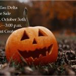 Photo promotes Sigma Tau Delta Bake Sale during Halloween