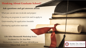 """Photo for Life After Monmouth Workshop Series: """"Thinking About Graduate School?"""" - click for detailed view"""