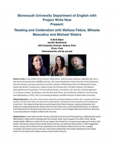 Photo for Reading and Celebration with Melissa Febos, Mihaela Moscaliuc, and Michael Waters