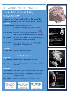 Photo image of Toni Morrison Day schedule of events at Monmouth University