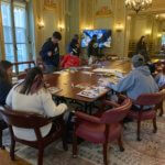 Photo of group participating in collage workshop on Toni Morrison Day