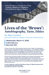 """Photo image of flyer for Lives of the 'Brows"""" lecture event on March 11, 2020. Click for larger display image"""