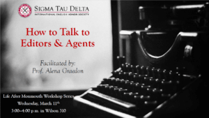"""Photo image for event: Life After Monmouth Workshop Series: """"How to Talk to Editors & Agents"""""""