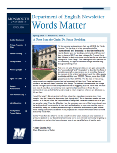 Department of English Newsletter, Words Matter, Spring 2020 issue