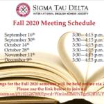 Sigma Tau Delta Fall 2020 Meeting Schedule