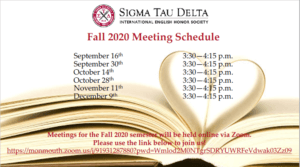 Sigma Tau Delta Fall 2020 Meeting Schedule