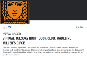 Click this image to register for book club event: Madeline Miller's Circe.