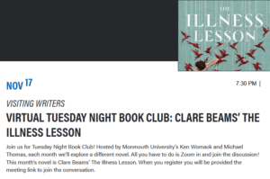 Click image to register for book club event: Clare Beams' The Illness Lesson