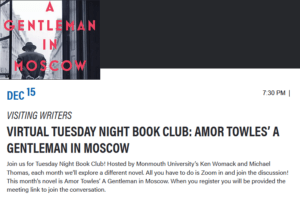 Click image to register for book club event: Amor Towles' A Gentleman In Moscow