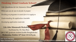 Image for Thinking about Graduate School? Life After Monmouth Workshop Series - click for detailed view