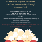 Photo image of event flyer for Double Good Popcorn Fundraiser