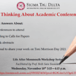 """Photo image of event flyer for Life After Monmouth Workshop Series: """"Thinking About Academic Conferences"""""""