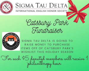 Click or tap image for detailed view of flyer for Sigma Tau Delta Catsbury Park Fundraiser